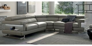 Bolero Large Aniline Leather Corner Sofa Cream And Brown 2C2