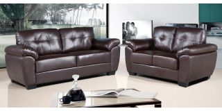 Bristol 3 + 2 Seater Brown Leather Sofa Set, Delivery In 8 Weeks