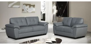 Bristol Leather Sofa Set 3 + 2 Seater Grey, Delivery In 8 Weeks
