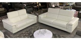 Domi Semi Aniline Leather Sofa Set 3 + 2 Seater White Italian Leather