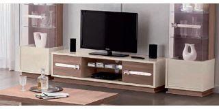 Evolution H Ivory and Wood TV Unit Assembled
