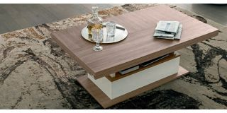 Evolution Ivory and Wood Coffee Table Assembled