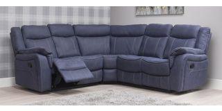 Brooklyn Blue Denim 2C2 Fabric Corner Sofa With Manual Recliners