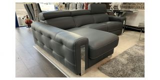 Dubai Semi Aniline Leather Corner Sofa LHF Grey Pedro Ortiz Hand Made Sofa