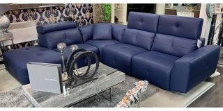 Zaira Semi Aniline Leather Corner Sofa LHF Blue Pedro Ortiz Hand Made Sofa