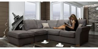 Hugo Corner LHF Formal And Footstool Charcoal
