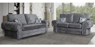 Verona Grey Formal Back 3 + 2 Fabric Sofa Set With Chrome Legs