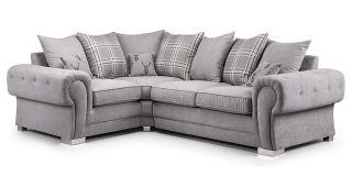 Verona Grey LHF Scatter Back Fabric Corner Sofa With Chrome Legs