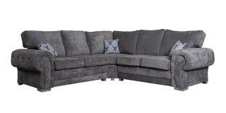 Verona Grey 2C2 Formal Back Fabric Corner Sofa With Chrome Legs