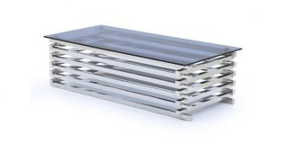 Moritz Coffee Table Polished Stainless Steel with Tinted Glass