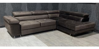 Nevada Brown RHF Velour Fabric Corner Sofabed With Ottoman Storage And Adjustable Headrests And Chrome Legs