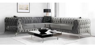 New Sandringham Silver 2C2 Soft Velvet Corner Sofa With Chrome Legs