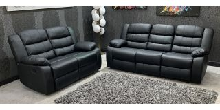 Roman Black Recliners Leather Sofa Set 3 + 2 Seater Bonded Leather, 21 Working Days Delivery