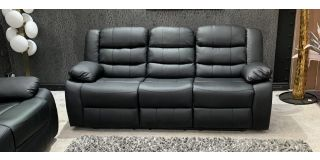 Roman Black Recliner Leather Sofa 3 Seater Bonded Leather, 21 Working Days Delivery