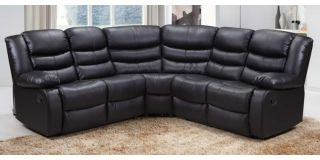Roman Large 2C2 Recliner Fabric Corner Sofa Black With Double Drop Down Drinks Holders, 6 Weeks Delivery