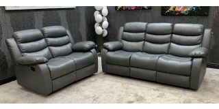 Roman Recliner Leather Sofa Set 3 + 2 Seater Grey Bonded Leather, 21 Working Days Delivery