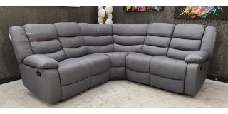 Roman Large 2C2 Recliner Fabric Corner Sofa Grey With Double Drop Down Drinks Holders, 6 Weeks Delivery