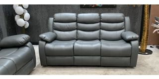 Roman Recliner Leather Sofa 3 Seater Grey Bonded Leather, 21 Working Days Delivery