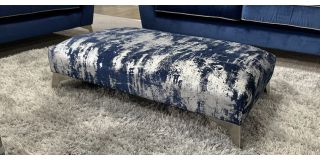 Accent Blue And Silver Designer Fabric Footstool With Chrome Legs