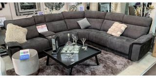 Vanzo Large Recliner Fabric Corner Sofa Charcoal Grey With Drinks Holders