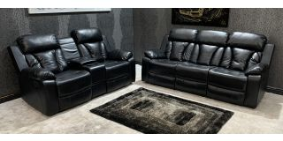 Somerton Leathaire Black 3 + 2 Recliner Sofa Set With Drop Down Drinks Holders In Large Sofa And Cup Holder In Regular Sofa