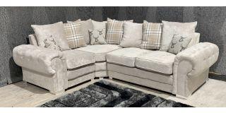 Verona Mink LHF Scatter Back Fabric Corner Sofa With Chrome Legs