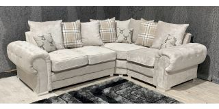 Verona Mink RHF Scatter Back Fabric Corner Sofa With Chrome Legs