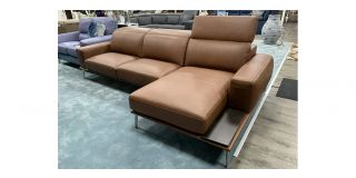 Villeneuve Semi Aniline Leather Corner Sofa RHF Brown Newtrend With Sliding Out Seating And Adjustable Headrests, Available for delivery in 8 weeks