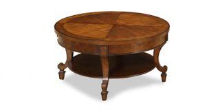 York Circular Coffee Table with Cherry Distress Finish and Birch Veneer