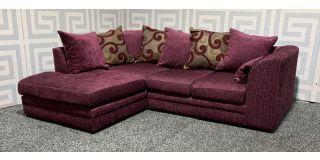 Zina Purple LHF Fabric Corner Sofa With Scatter Back Ex-Display Showroom Model 48553